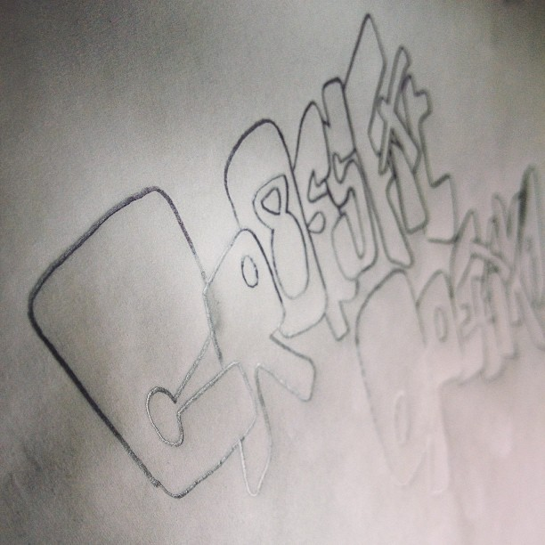 Graffiti lettering for a shirt and poster design in progress.