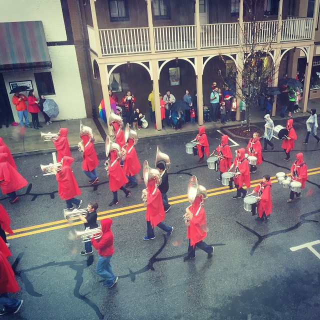 Terribly rainy Christmas parade.